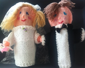 personalized knitted wedding couple hand puppets, custom dolls wedding,