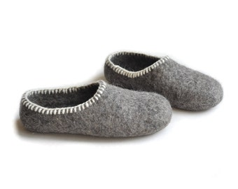 Eco friendly -gray - felted slippers
