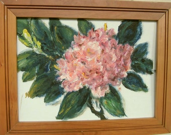 """Rhododendrons. Original oil on canvas panel by Maiga 12"""" x 9""""."""