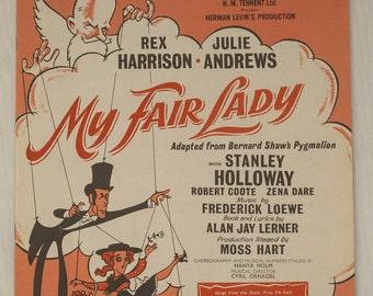 Vintage 1950's, My Fair Lady, musical score, piano selection, Theatre Royal Drury Lane