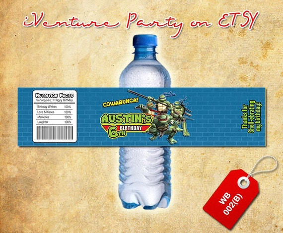 Ninja turtles water bottle label for Ninja turtles birthday - DIGITAL printable TMNT bottle wrap for Teenage mutant ninja turtles birthday