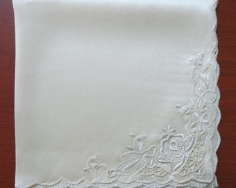 "Hand embroidered woman handkerchief in 100% satin silk-11"" square"
