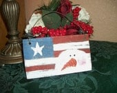 Patriotic USA Red White Blue Star Stripes Snowman Winter Americana Wall Hanging Christmas Tree Ornament Hand Painted Wood Home Decor