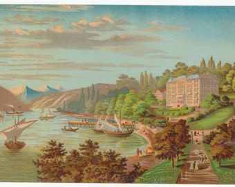 Victorian Lithograph of ships in cove overlooked by large building. c.1880