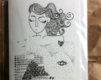 Vrouwe in de bergen, dubbele kaart met envelop A6