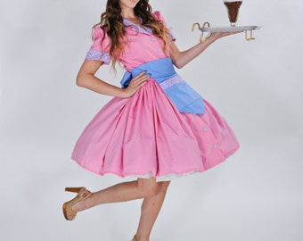 Car Hop Costume - Retro Waitress Costume - Soda Shop Costume - Pin Up Dress - Halloween Costume - Custom Size Including Plus Sizes
