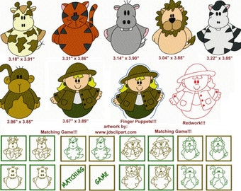 25 Roly Poly Jungle Embroidery Design Files with Finger Puppets & Memory Matching Game