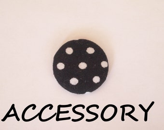 Black and white polka dot  fabric covered buttons (adjustable ring, earrings, shoe clips, and brooch)
