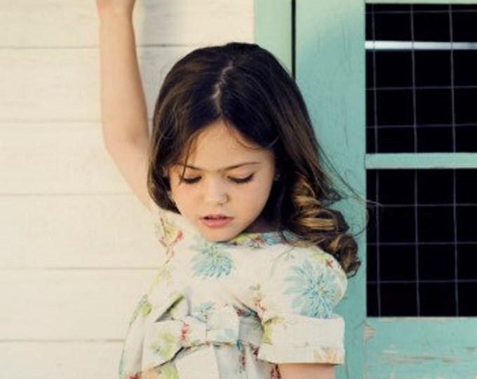 Girls Dress, Children Clothing, Floral linen dress, Yellow Linen Toddler dress, Linen dress with bow, Unique Toddler dress, Floral dress