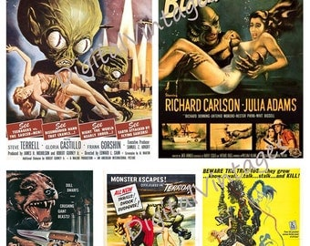 Digital Collage Five Sheets Vintage Science Fiction Horror Movie Posters Scapbook Over 20 movies on 5 sheets *Instant Download*
