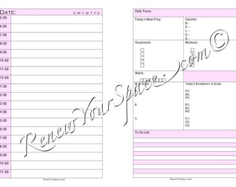 Printable Focus Sheet (Pink) - Day on Two Pages Half Letter