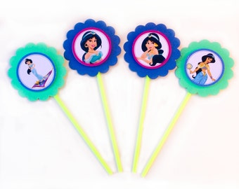 Jasmine -  Disney Princess from Aladdin cupcake toppers - Set of 12