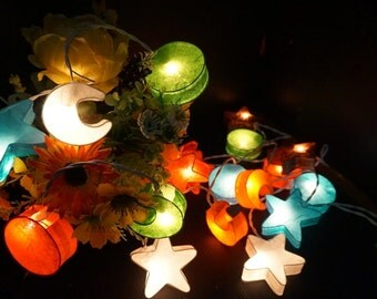 20 Mixed stars and moon paper lantern string lights for party wedding home decoration indoor outdoor