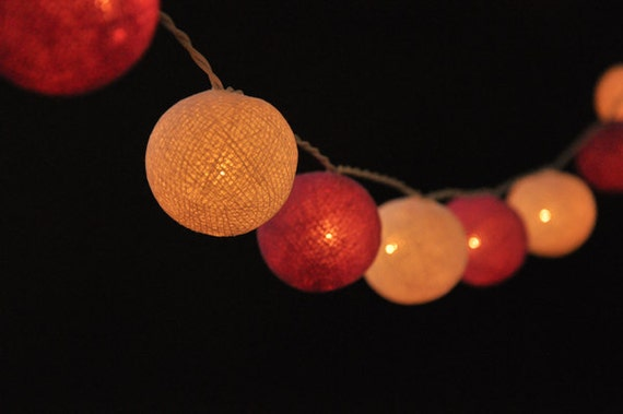 20 Purple&White Cotton Ball String Lights hanging lights for
