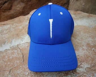 Men's Stretch Fit Golf Hat Royal Blue with Embroidered Tee Design | Great Golf Gift Idea