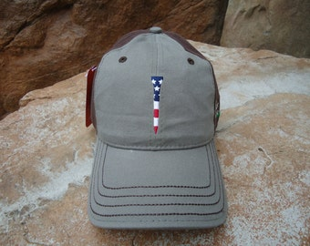 Men's Two-Tone Cotton Golf Hat Surplus Green with Embroidered USA Flag Tee Design | Great Golf Gift Item