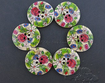 6 pcs Painted 4-Hole Wooden Buttons, 30mm