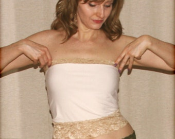 Bamboo and antique gold strapless top