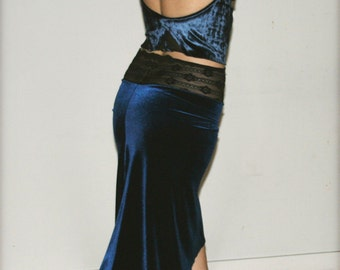 Deep blue ocean velvet skirt