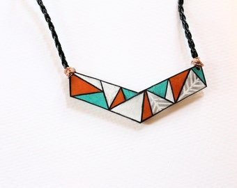 Geometric Chevron Indian Print Necklace- Shrinky Dink