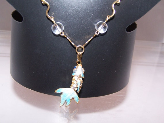 """Koi Fish Necklace, Women's Birthday Gifts, Earrings Available for Jewelry Set, Cloisonne Koi with Jointed Body, Angelite & """"Bubble"""" Beads"""