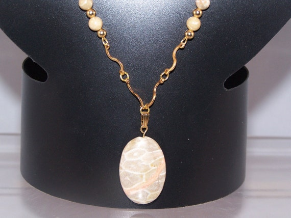 Fossil Coral Necklace, Women's Anniversary Gifts, Available Jewelry Set with Earrings, Ecru Tones with Peach Accents
