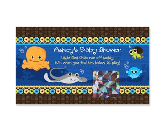 22 Scratch Off Baby Shower Game Cards - Under The Sea Critters Printed Party Games