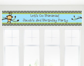 Monkey Boy Party Banner - Custom Party Decorations