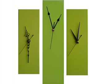 CLC Contemporary Slim Long Wall Clock LIME GREEN 30cm or 40cm