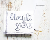 Thank You Doodle Blank Greeting Card