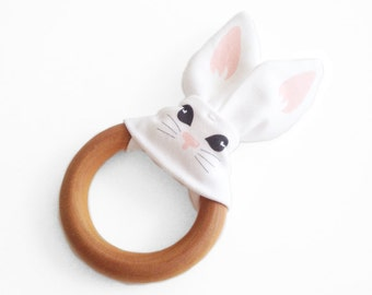 Organic Bunny Teething Ring, Baby Teething Ring, Bunny printed on Organic Cotton. Perfect for a Baby Shower Gift