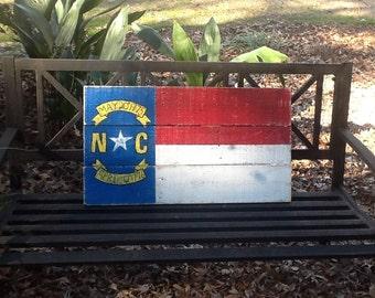 North Carolina State Flag on Pallet Board