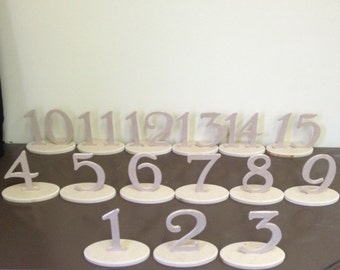 Wooden Table Numbers with Bases, set 1-15