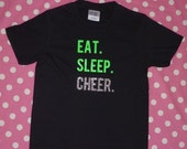 Cheer Shirt with Eat Sleep Cheer   Cheerleading Childrens Shirt tshirt teeshirt