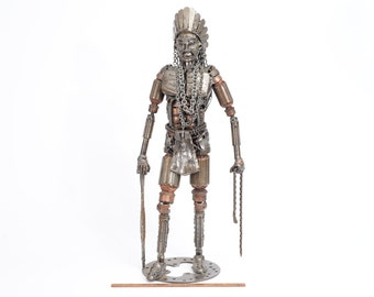 Native American Indian Walking with a Snake in One Hand and a Stick in the Other, Recycled Metal Art Sculpture, Machine and Engine Parts