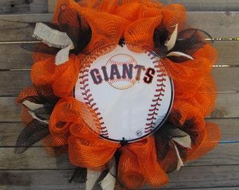 """24"""" San Francisco Giants Wreath- Giants Wreath- Giants Baseball Wreath- Baseball Wreath- Sports Wreath- Sports Deco Mesh Wreath- Ball Wreath"""