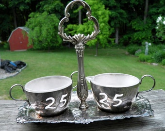 Vintage Silver Plated 25th Anniversary Sugar & Creamer Cups with Caddy,  3 pc. set, England