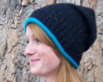 Turquoise and navy wool and cashmere women's winter hat