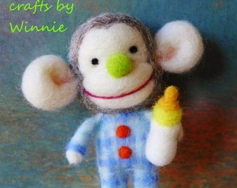 Needle felted Baby monkey with milk bottle wool handmade OOAK