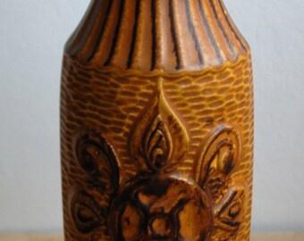 West Germany Vase- Brown Tan floral decoration by Bay Keramik 68 25 - 1970s