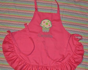 Child's Hot Pink Ruffle Apron with Cupcake Applique and Name