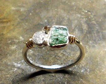 Silver and gold rose ring, with rough Emerald, rough Diamond and rough brown diamond.