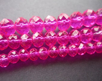 Crystal Bead Rondelle 6mm 8mm 10mm Dark Pink Color Faceted Chinese Crystal Beads JC094
