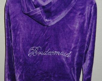 CLEARANCE - XL, Bridesmaid Purple Rhinestone Velour Hoodie Set