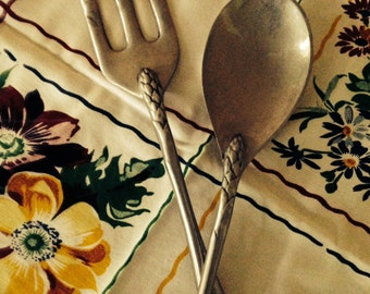 Vintage  Aluminum  Salad  Servers,  Kitchen Collectible,  Functional  Art  Work  Industrial Look