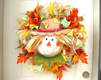 Scarecrow Fall Cream Orange Burlap Autumn Thanksgiving Indoor Outdoor Deco Mesh Wreath!