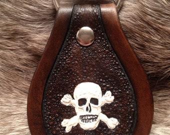 Hand Tooled Skull and Crossbones Keychain