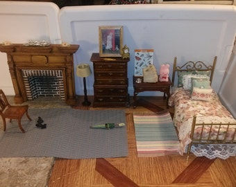 Great Quality Dollhouse Furniture bedroom set lot hand dressed bed plus dresser table chair rug painting lamp 1/12