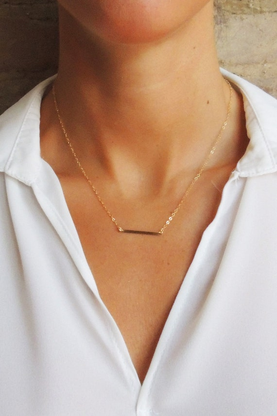 Horizontal Flat Modern Bar Necklace Minimalist Gold