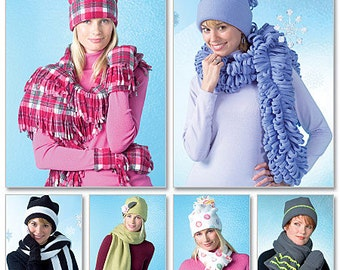 McCall's Sewing Pattern M4681 Misses' Cozy Hats, Scarves and Convertible Mittens
